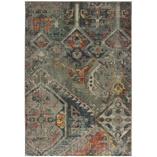 """Carbon Loft Kissels Tribal Patchwork Grey and Multi Area Rug - 6'7"""" x 9'6"""""""