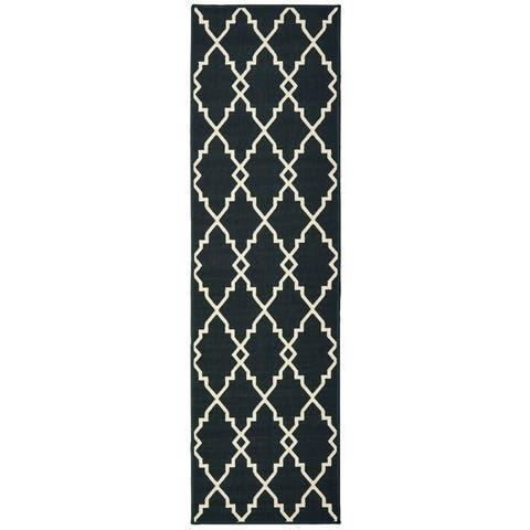 Pelican Ornate Lattice Black/ Ivory Loop Pile Indoor/ Outdoor Area Rug by Havenside Home