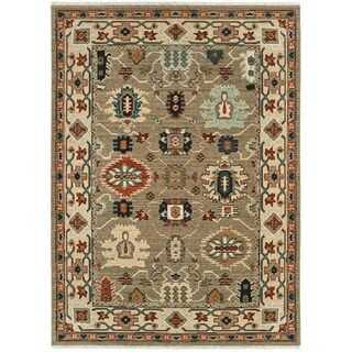 Tribal Border Space Dyed Wool Tan/Ivory Area Rug - 6'7 x 9'6