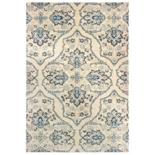 """The Curated Nomad Caledonia Floral Medallion Ivory/ Blue Area Rug - 7'10"""" x 10'10"""""""
