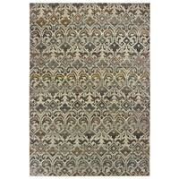 """Distressed Traditional Ivory/ Grey Area Rug - 6'7"""" x 9'6"""""""