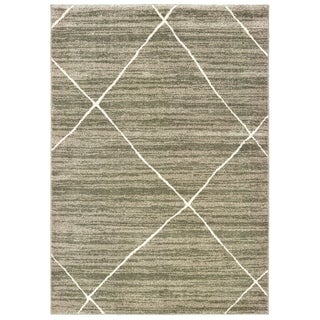 "The Curated Nomad Brush Distressed Geometric Grey/ Ivory Area Rug - 9'10"" x 12'10"""