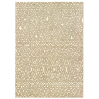 "Tribal Reflections Sand/ Ivory Area Rug - 9'10"" x 12'10"""