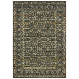 """Floral Border Traditional Grey/ Gold Area Rug - 5'3"""" x 7'6"""""""