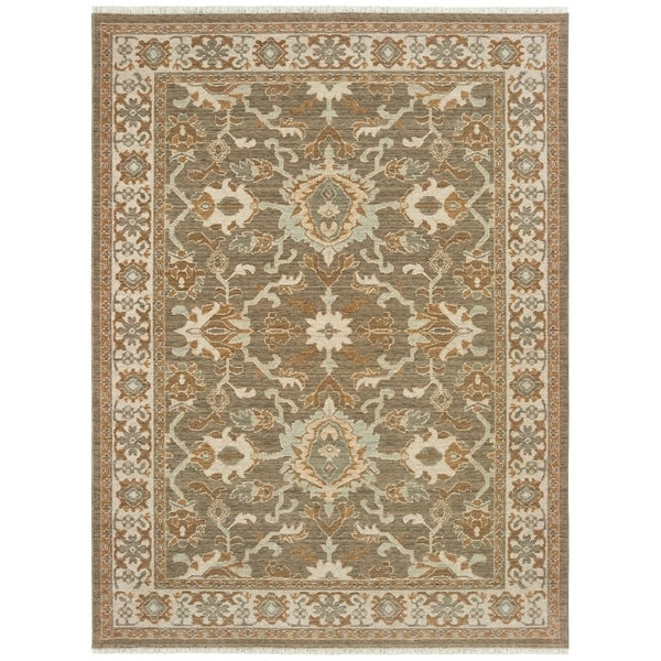 Distressed Traditional Bordered Brown/ Ivory Spaced Dyed Wool Area Rug - 2' x 3'