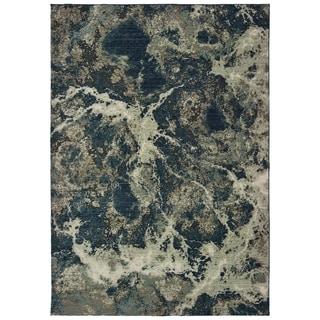"Organic Abstract Grey/ Blue Area Rug - 7'10"" x 10'10"""