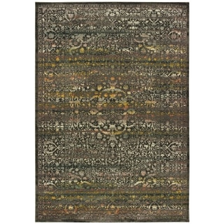 "Carbon Loft Romijn Antiqued Medallion Grey and Gold Area Rug - 7'10"" x 10'10"""