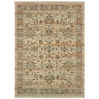 Sand/Blue Wool Space-dyed Antiqued Traditional Area Rug - 6'7 x 9'6
