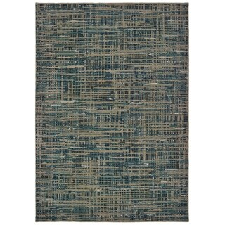 "Abstract Etchings Blue/ Grey Area Rug - 6'7"" x 9'6"""