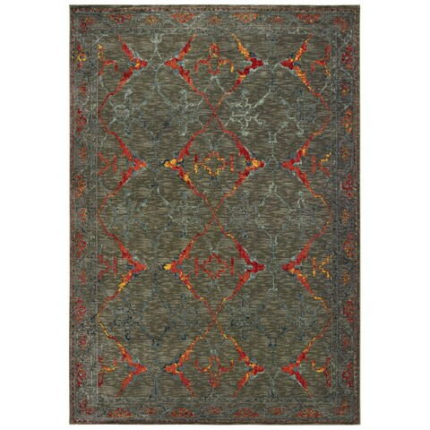 """Distressed Tribal Grey/ Red Area Rug - 9'10"""" x 12'10"""""""