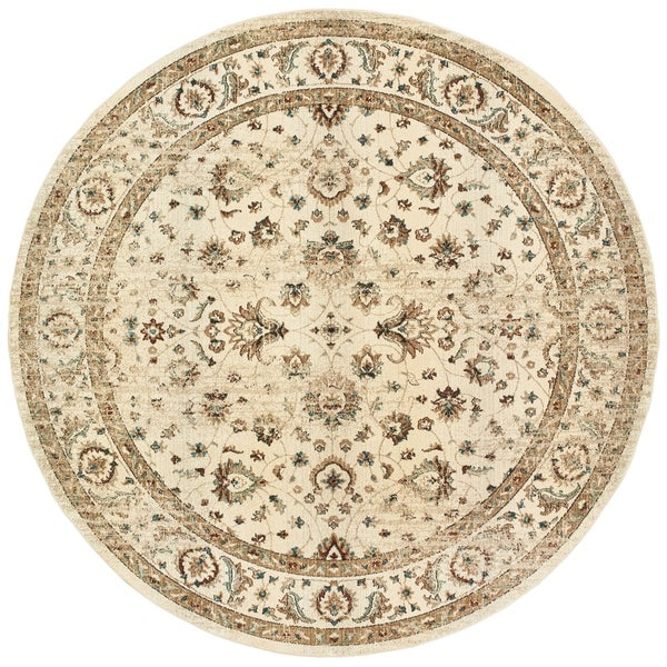"""Arabesque Traditions Ivory/ Gold Area Rug - 7'10"""" Round"""