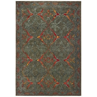 """Distressed Tribal Grey/ Red Area Rug - 6'7"""" x 9'6"""""""
