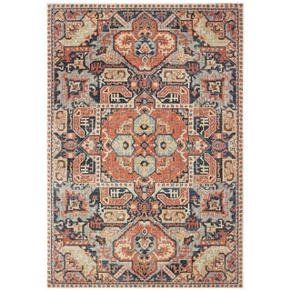 "The Curated Nomad Regent Distressed Tribal Blue/ Orange Area Rug - 7'10"" x 10'10"""