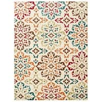 """Floral Panel Ivory/ Multi-colored Area Rug - 7'10"""" x 10'"""