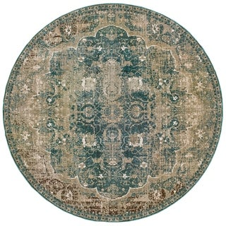 """Fontainebleau Gold/Blue Area Rug - 7'10"""" Round"""