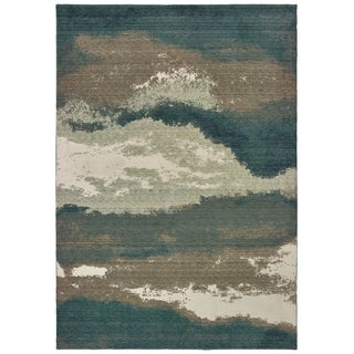 Organic Abstract Blue/Ivory Area Rug - 6' 7 x 9' 6