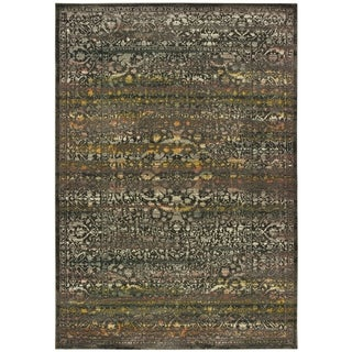 "Carbon Loft Romijn Antiqued Medallion Grey and Gold Area Rug - 6'7"" x 9'6"""