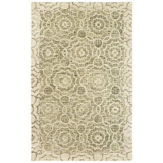Faded Medallions Hand-tufted Wool Green/ Ivory Area Rug - 8' x 10'
