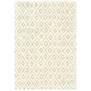"Tribal Lattice Ivory/ Sand Area Rug - 6'7"" x 9'2"""