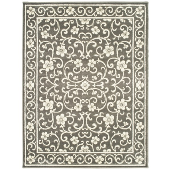 "Copper Grove Nasice Floral Grey and Ivory Area Rug - 7'10 x 10' - 7'10"" x 10'"