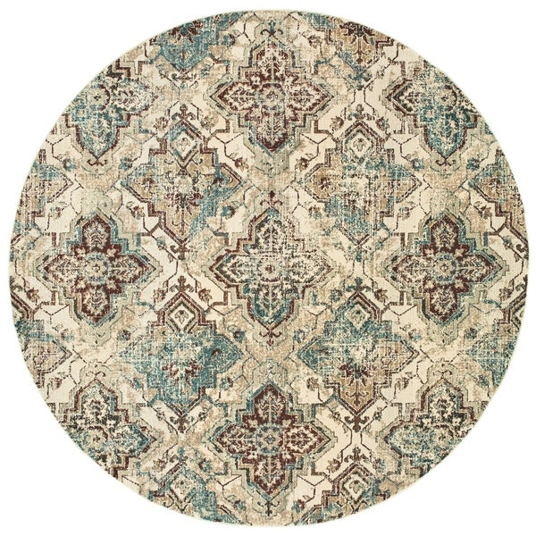 """Antiqued All-over Medallions Ivory/ Gold Area Rug - 7'10"""" Round"""