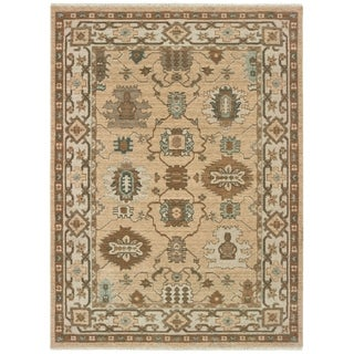 Sand/Ivory Wool Tribal Border Space-dyed Area Rug - 6'7 x 9'6