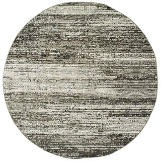 "Textural Stripes Ash/ Charcoal Area Rug - 7'10"" Round"
