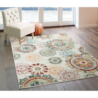 """Distressed Floral Medallions Ivory/ Green Area Rug - 7'10"""" x 10'"""