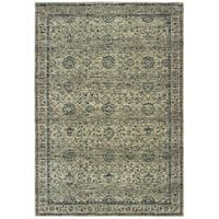 """Copper Grove Krizevci Distressed Floral Grey and Blue Area Rug - 5'3 x 7'6 - 5'3"""" x 7'6"""""""