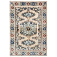 "Tribal Medallion Ivory/ Blue Area Rug - 5'3"" x 7'6"""