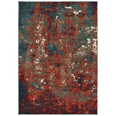 Strick & Bolton Elena Blue/ Red Abstract Area Rug - 6'7 x 9'6