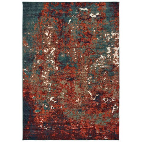 """Strick & Bolton Elena Blue/ Red Abstract Area Rug - 6'7 x 9'6 - 6'7"""" x 9'6"""""""