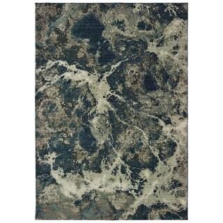 "Organic Abstract Grey/ Blue Area Rug - 6'7"" x 9'6"""