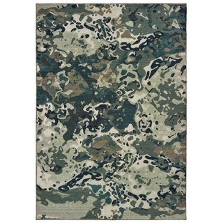 """Porch & Den Surber Abstract Blue/ Grey Area Rug - 6'7"""" x 9'6"""""""