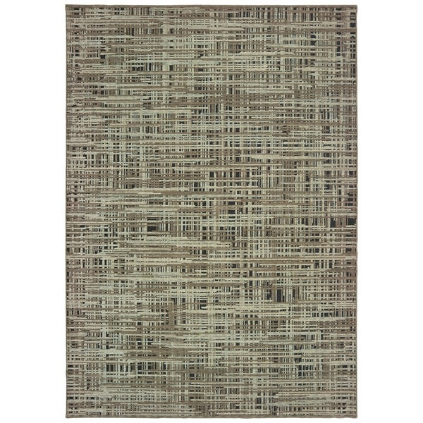 "Abstract Etchings Grey/ Green Area Rug - 6'7"" x 9'6"""