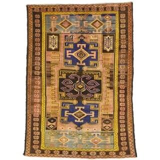 Hand Knotted Khamseh Semi Antique Wool Runner Rug - 5' 5 x 7' 7