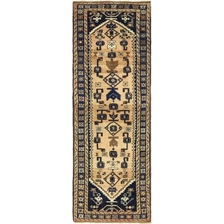Hand Knotted Khamseh Antique Wool Runner Rug - 3' 3 x 9' 7