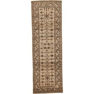 Hand Knotted Khotan Ziegler Wool Runner Rug - 3' 2 x 9' 10