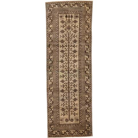 Hand Knotted Khotan Ziegler Wool Runner Rug - 3' 3 x 9' 7