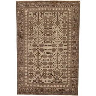 Hand Knotted Khotan Ziegler Wool Area Rug - 6' 9 x 10' 2