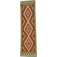 Hand Woven Kilim Maymana Wool Runner Rug - 2' x 6' 4