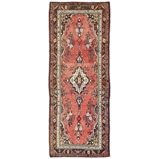 Hand Knotted Khamseh Semi Antique Wool Runner Rug - 3' 4 x 8' 11