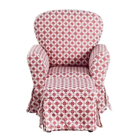 HomePop Kids Chair and Ottoman - Pink and White Lattice