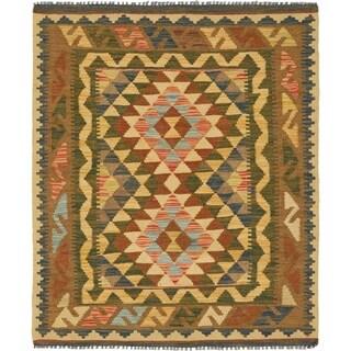 Hand Woven Kilim Maymana Wool Area Rug - 3' x 3' 8