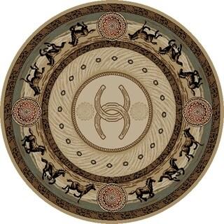 """Western Horse Beige Cheyenne Circle 5 Foot Round Area Rug - 5'3"""" Round"""