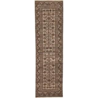 Hand Knotted Khotan Ziegler Wool Runner Rug - 2' 10 x 9' 9
