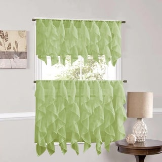 Sweet Home Collection Sage Vertical Ruffled Waterfall Valance and Curtain Tiers