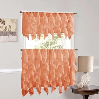 Sweet Home Collection Spice Vertical Ruffled Waterfall Valance and Curtain Tiers