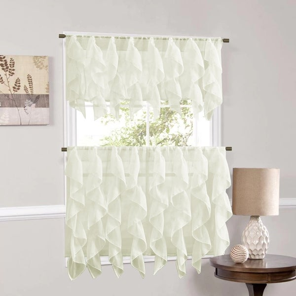 Sweet Home Collection Ivory Vertical Ruffled Waterfall Valance and Curtain Tiers