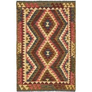 Hand Woven Kilim Maymana Wool Area Rug - 3' 2 x 4' 11